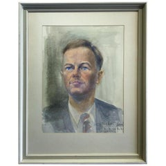 Watercolor Portrait of a Man, Signed