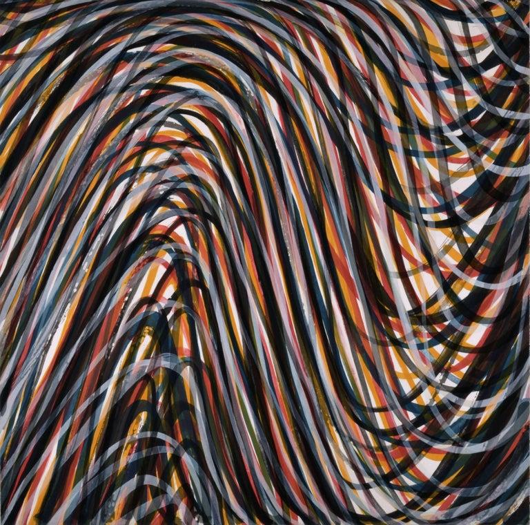 """Wavy Brushstrokes #4 (Black & Color)"", aquatint, red, yellow, blue, Lewitt"