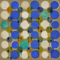 """""""Dot Variant 28"""", color dots, abstract, pattern, blue, teal, orange, ochre"""