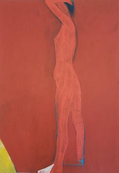 "Jamie Chase ""Figure in Red"" Painting on Paper"
