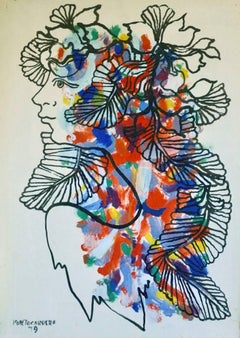 Rene Portocarrero, Woman with bird, mixed media, 1979.