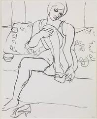 Seated Woman on Sofa