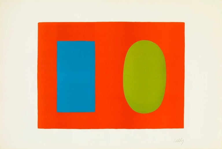 Ellsworth Kelly Abstract Print - Blue and Green over Orange
