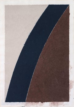 Colored Paper Image XII (Blue Curve with Brown and Gray)