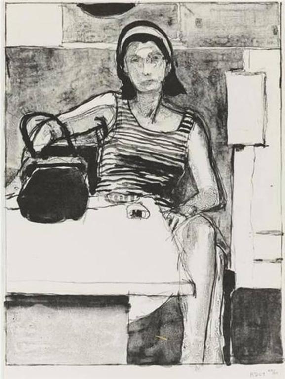 Richard Diebenkorn - ženska, ki je sedela za mizo, Natisni za-3766