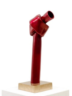 The One.  Conceptual bronze sculpture with reflective bright red patina.