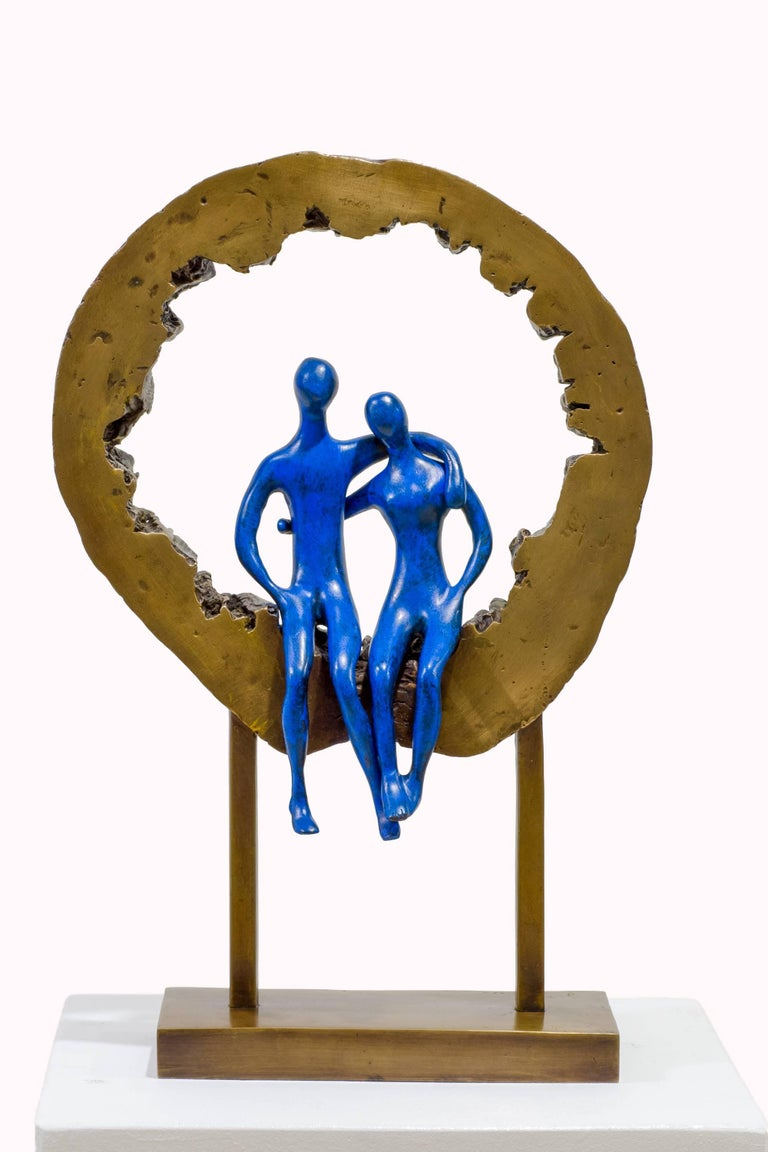 Made in the Heavens. Bronze sculpture, blue golden patina by Beatriz Gerenstein