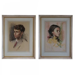 Mid 20th Century Pair of Pastel Drawings by James Arden Grant