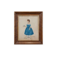 Mid 19th Century Watercolour of a Girl in a Blue Dress, circa 1840