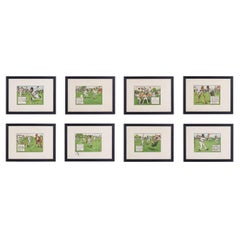 Set of Eight Early 20th Century 'Laws of Cricket' Framed Book Plates