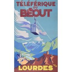 Téléferique du Béout: Lourdes (1952) Original Vintage Travel Skiing Poster