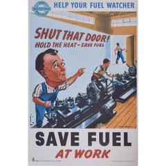 Save Fuel at Work Original Vintage Poster World War II Home Front Efficiency