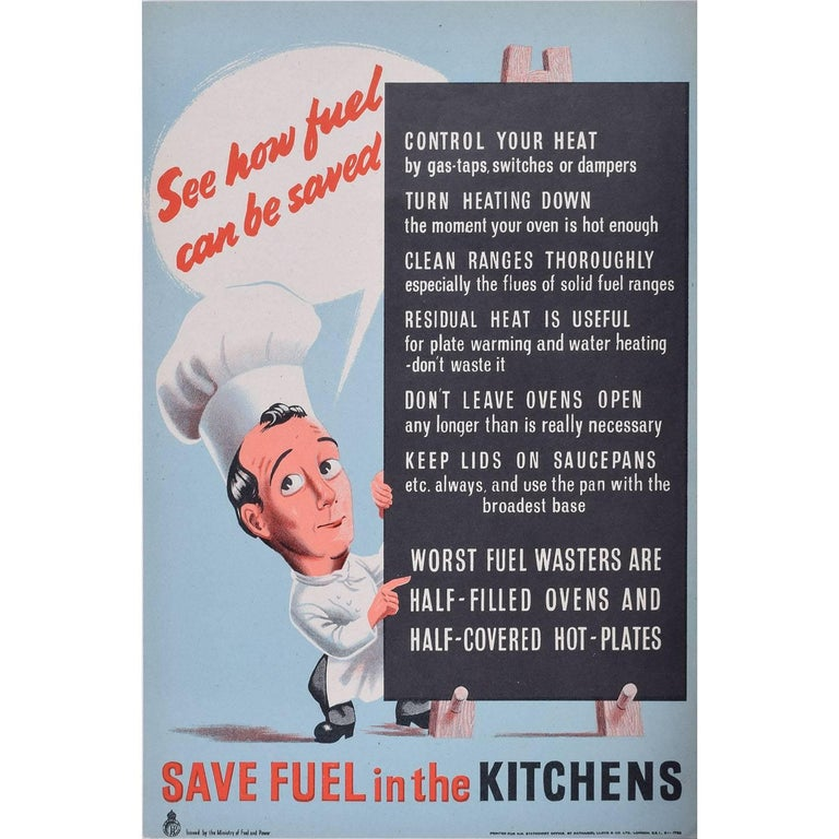 Save Fuel in the Kitchens Original Vintage Poster World War 2 Home Front