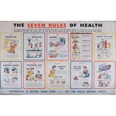 The Seven Rules of Health UK British Government Propaganda Poster HMSO c1950