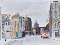 St John Street, London EC1 watercolour by A. R. Hundleby c. 1980 Avengers era