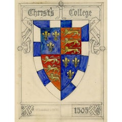 Christ's College, Cambridge heraldic design for stained glass by Florence Camm