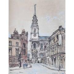 Lord Paul Ayshford Methuen Clerkenwell Green, London, watercolour 1946