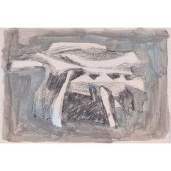 'Form' Abstract Mid-Century Gouache Painting Clifford Ellis Modern British Art