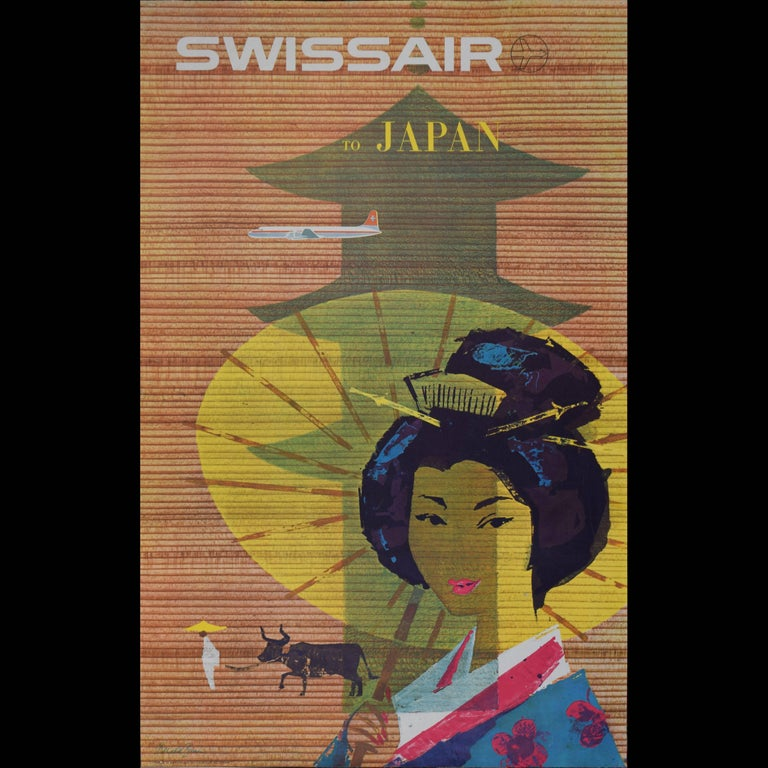 Donald Brun Figurative Print - Travel Poster: Swissair to Japan 1958 original vintage Swiss - Japanese