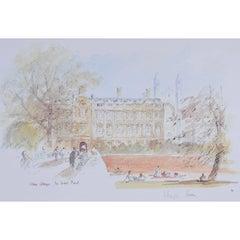 Hugh Casson West Front Clare College, Cambridge, Signed Print