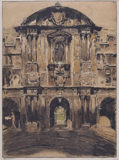 St John's College Oxford lithograph 1905 William Nicholson for Stafford Gallery