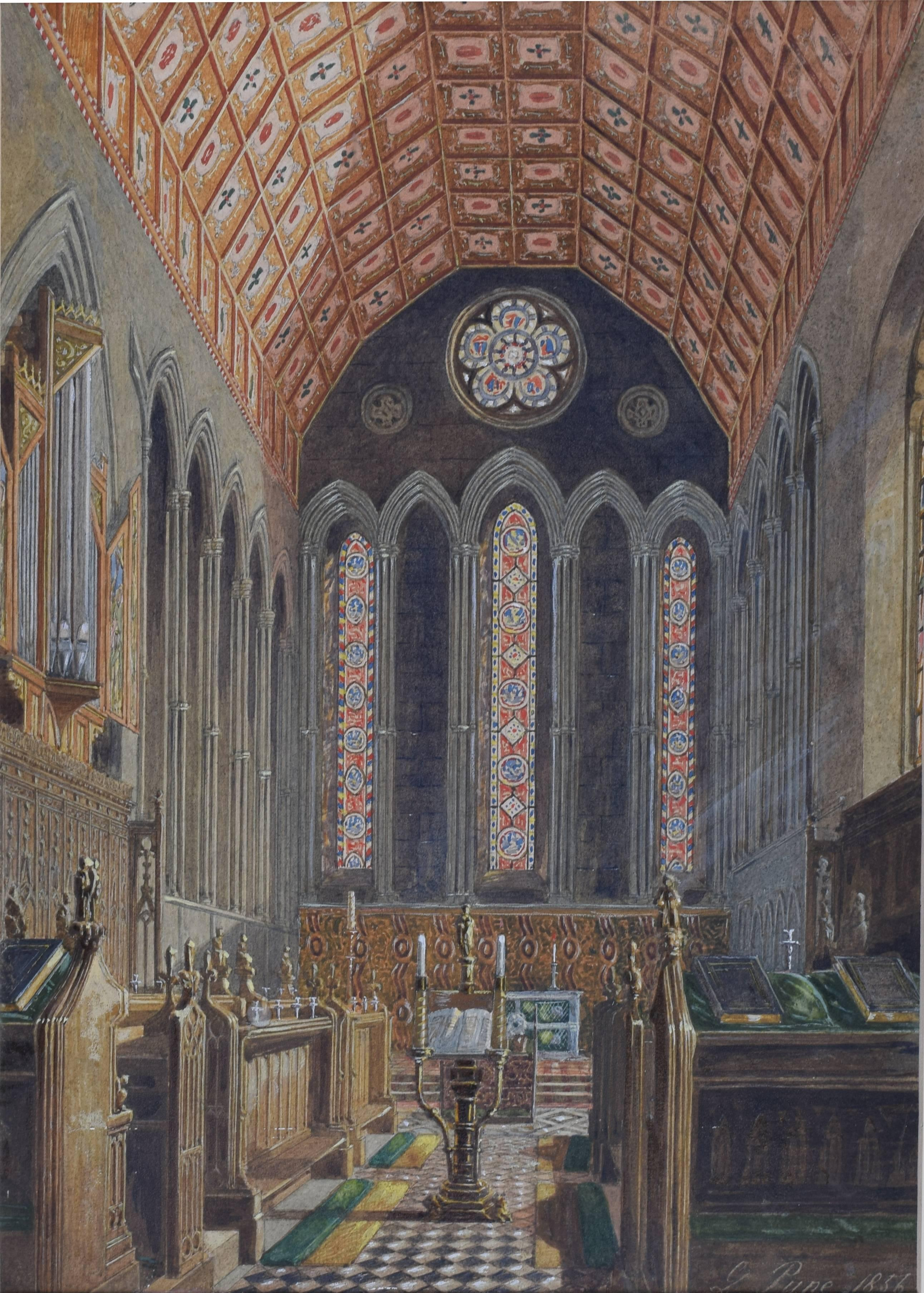George Pyne Jesus College, Cambridge, Pugin Chapel 1856 watercolour
