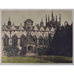 Richard Beer Oriel College Oxford etching c. 1980