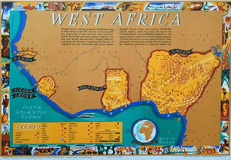 Leo Vernon Leo Vernon West Africa Poster Map 1948 Nigeria Gold