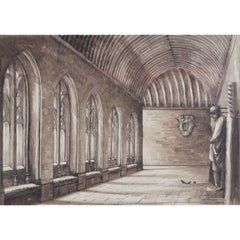 Hubert Hennes New College Oxford Cloisters watercolour
