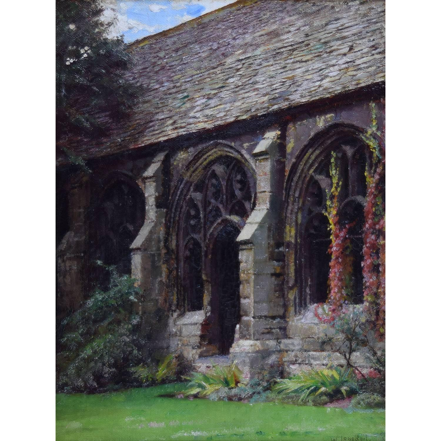 William Logsdail New College Oxford Cloisters oil painting
