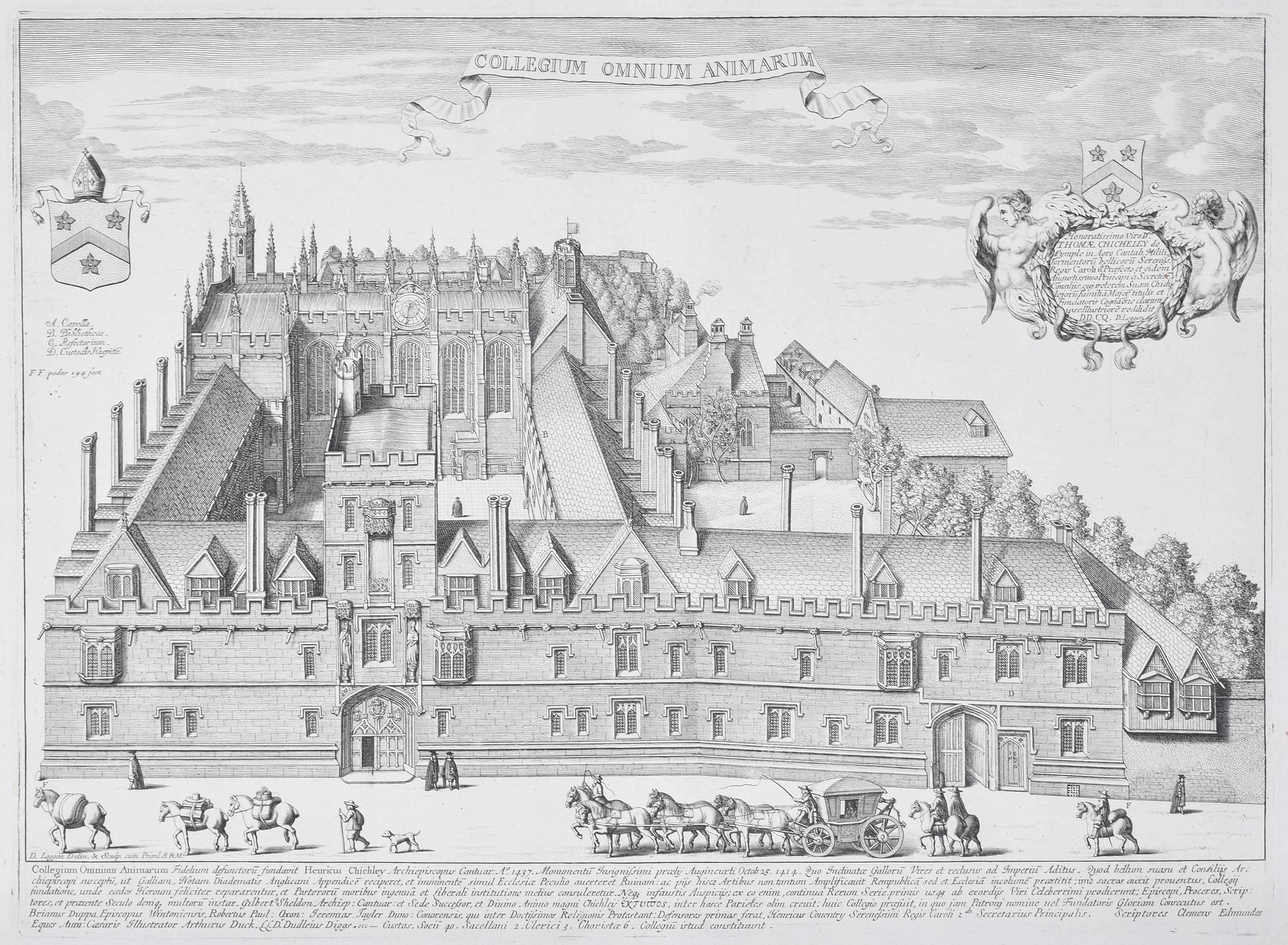 David Loggan All Souls College, Oxford Engraving 1675