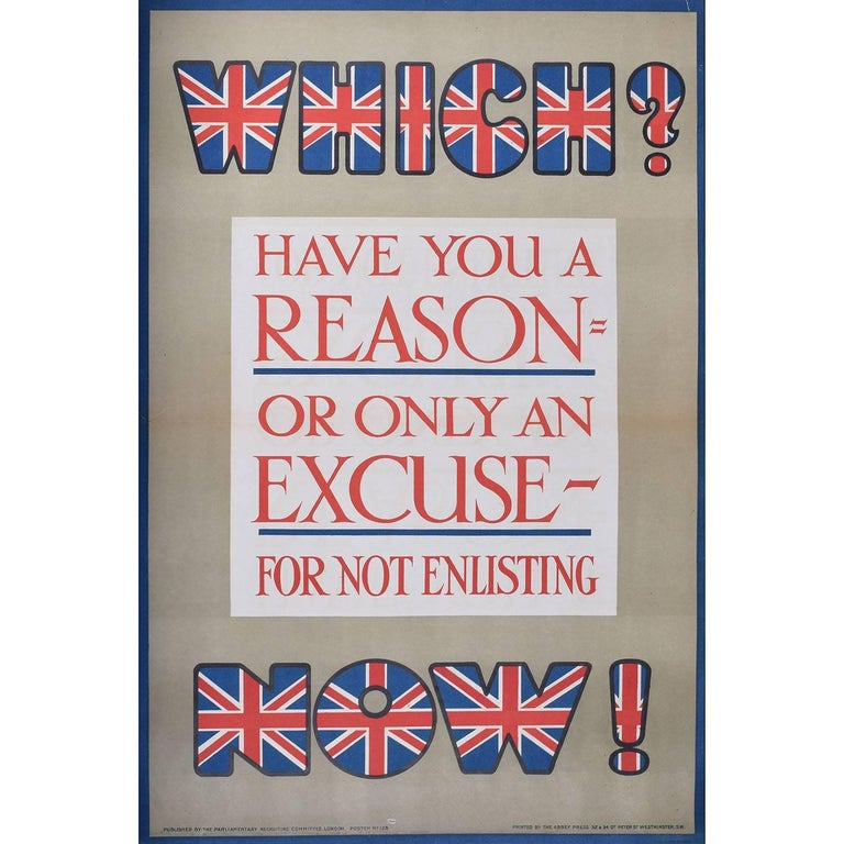 Unknown Print - Have you a reason for not enlisting? World War One British Recruitment Poster