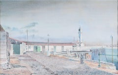 Charles Paine, Gorey Pier, Jersey watercolour design published as postcard 1920s