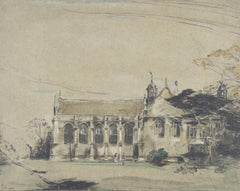 William Nicholson Garden Front, Wadham College, Oxford Signed 1905 lithograph