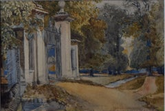 John Fulleylove Trinity College Gates The Backs, Cambridge 19th C. watercolour