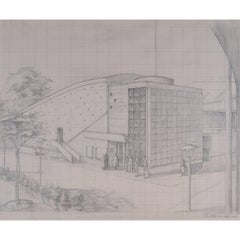 Cinema: The Telecinema architectural drawing Festival of Britain Telekinema