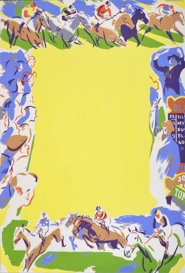 Original British Travel Poster Horse Racing Percy Drake Brookshaw c. 1960 - Print by Percy Drake Brookshaw