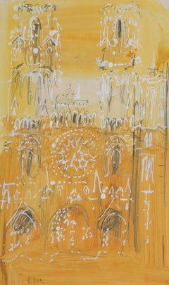 Laon Cathedral, France watercolour John Piper CH c.1970