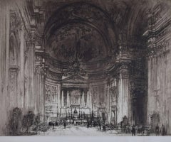 William Walcot Interior of the Chiesa del Gesu Rome 1925 large etching