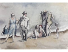 Harold Hope Read: Conversation on a Beach watercolour