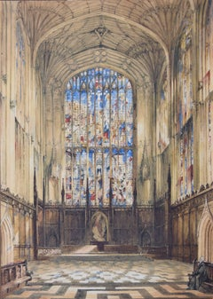 John Anderson Bell King's College Cambridge Chapel Interior c. 1840 watercolour