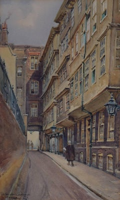 William Alistair MacDonald  Middle Temple Lane, London watercolour Barristers