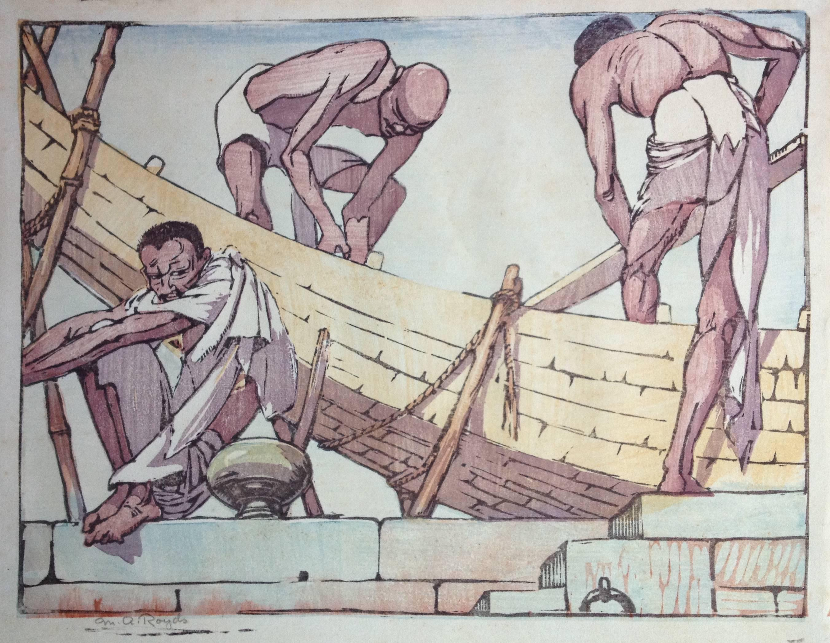 Mabel A. Royds Boat Builders Woodblock print c. 1915-20