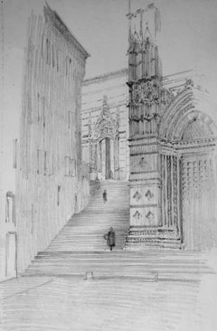 Christopher Hughes Italian Church Entrance drawing
