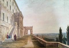 19th Century European watercolour 'View from an Italian Villa'