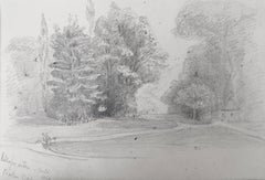 Oscar Andreae: Schlossgarten, Baden Baden, Germany - 1861 drawing