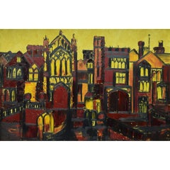 J Phillip Davies: Selwyn College Cambridge - oil painting: Modern British Art