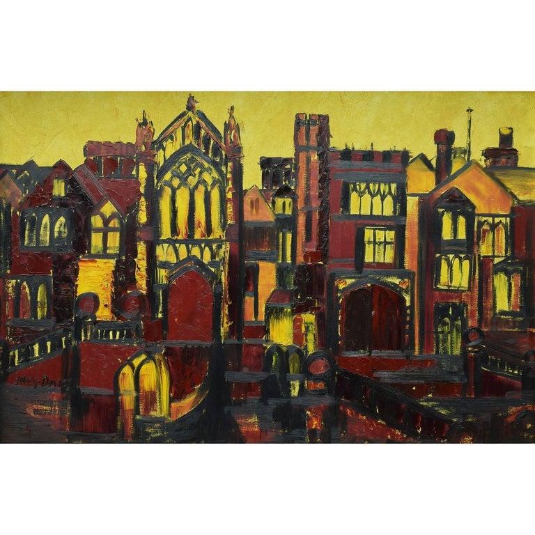 J. Phillip Davies Landscape Painting - J Phillip Davies: Selwyn College Cambridge - oil painting: Modern British Art