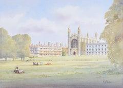 King's College Cambridge watercolour: K W Burton (British, late 20th century)