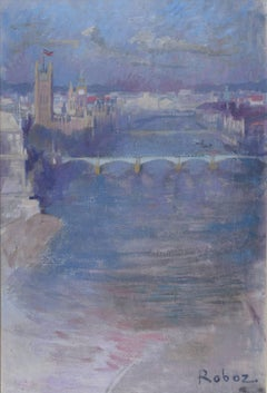 Zsuzsi Roboz Houses of Parliament and the Thames London, Modern British Art oil